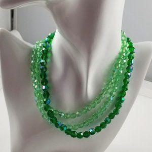 Vintage Czech Glass Multi Strand Necklace